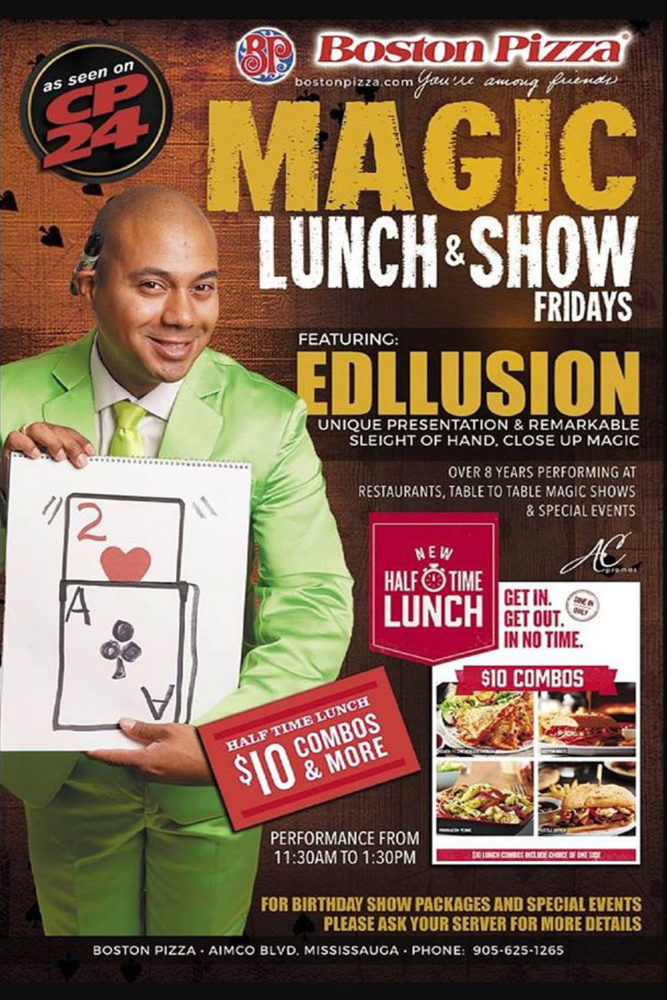 lunch and stand up magic show edllusion ontario