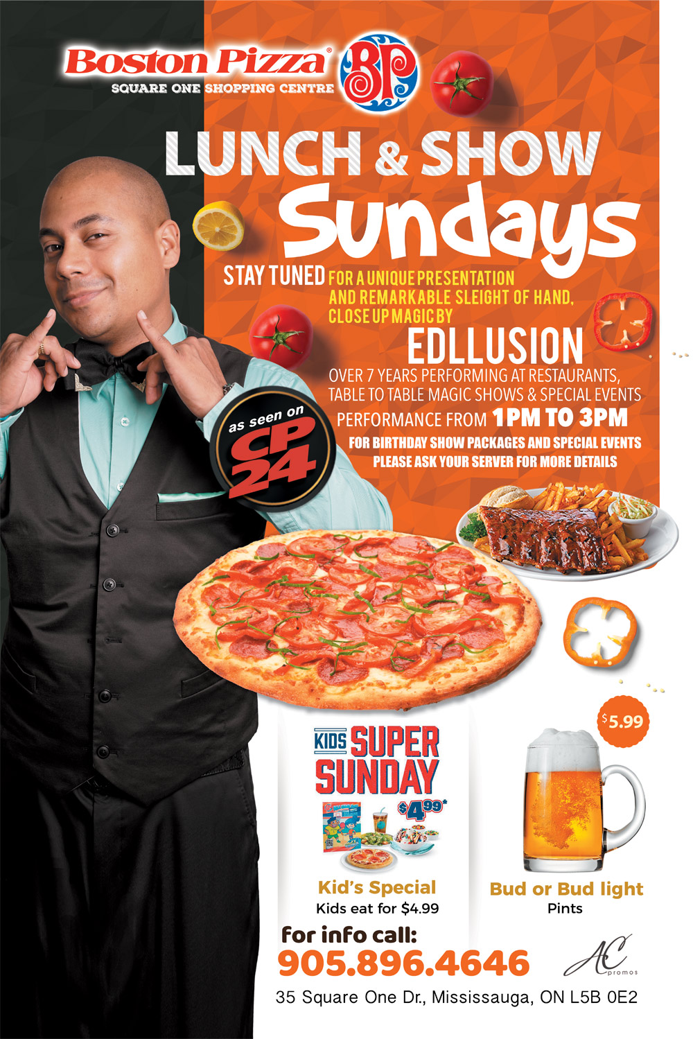 edllusion stand up magic show boston pizza